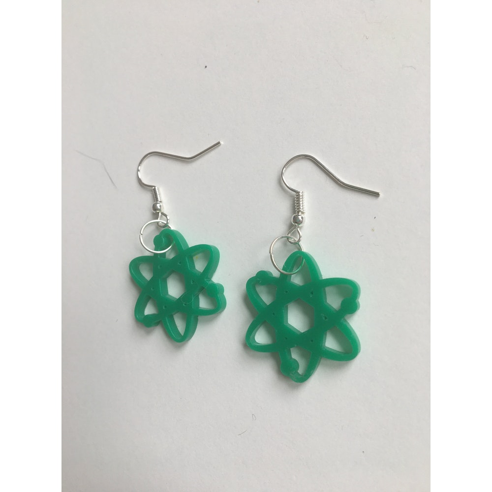 One of a Kind Club Atom Forest Green Acrylic Earrings