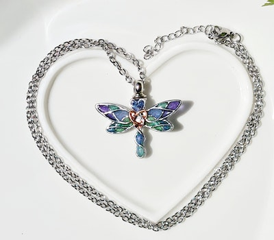 Bee's Knees Keepsake DRAGONFLY ash urn memorial necklace , cremation jewelry, sympathy gift 2021