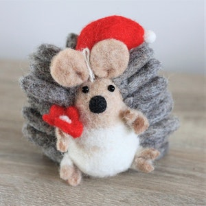 """Queenie's Pawprints Natural Wool Felted Cat Toy or Decoration """"Hedgehog with Flower"""""""