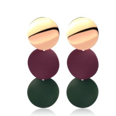 Symbolic Studio Burgundy Green Round Earrings