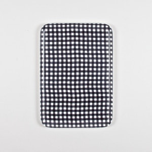 Navy and White Checked Linen Tray - Medium