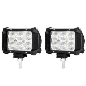 LIGHTFOX LIGHTFOX 2x 4inch CREE LED Work Light Flood Beam Dual Row Work Fog Lamp Offroad 4x4WD