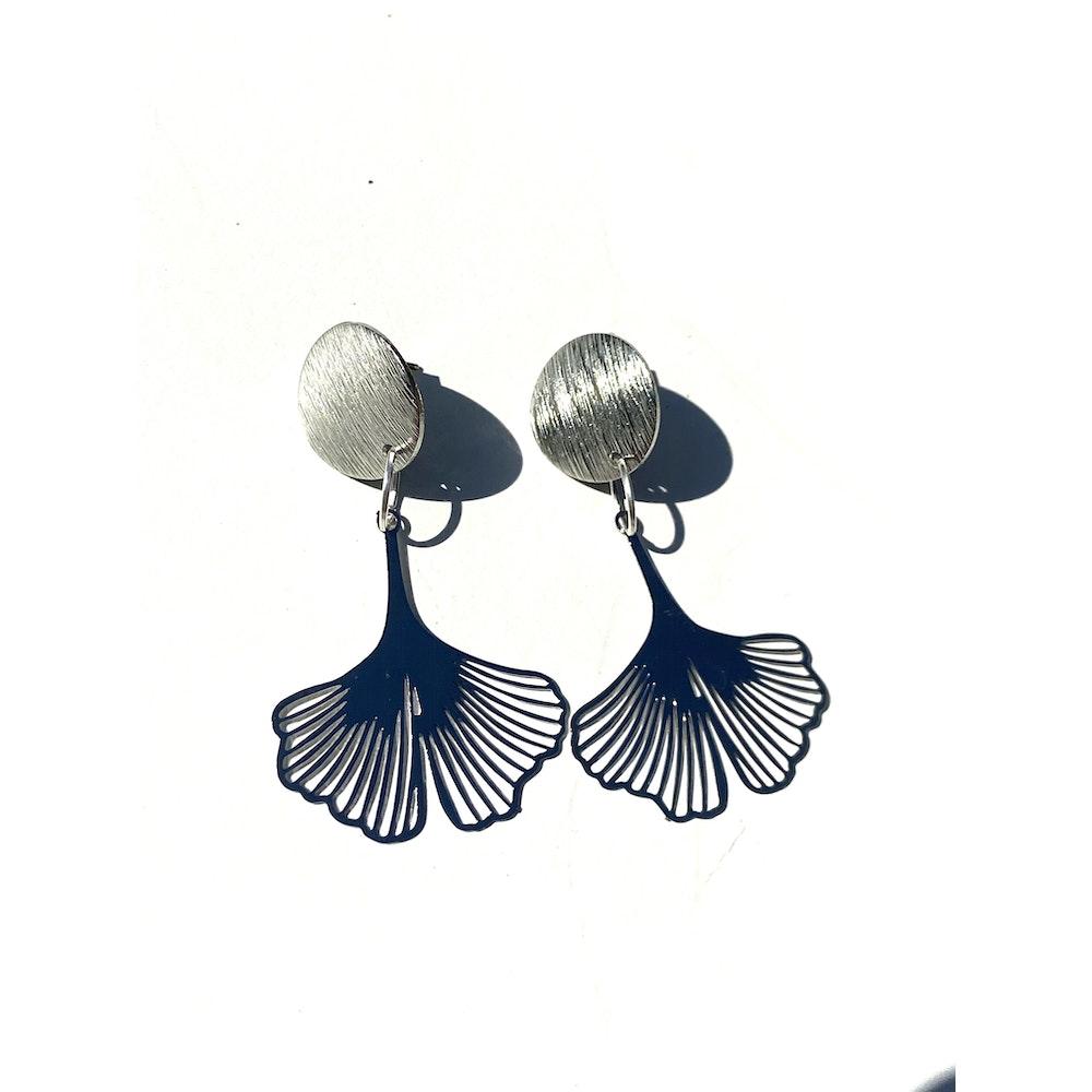One of a Kind Club Ginkgo Bohemian Leaf Stud Dangle - Silver