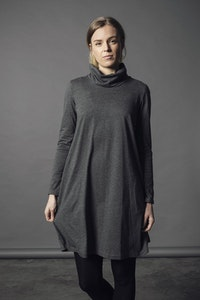 Winter Cherry Skivvy Dress - Charcoal Marle