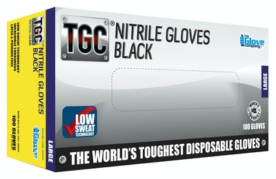 TGC Black Nitrile Gloves Large