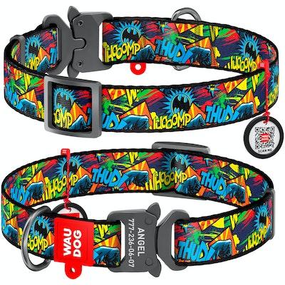 WauDog by the Collar Company WauDog Nylon Dog Collar -Batman-Bright - Sizes: X-Small, Small, Medium, Large