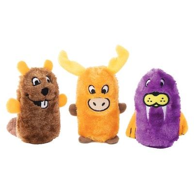 Zippy Paws Squeakie Buddies Beaver Moose & Walrus Plush Dog Toy 3 Pack