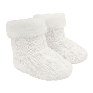 Cable Knit Sherpa Booties - Ivory