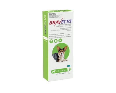 BRAVECTO Spot On for Dogs 10-20kg 1 Pack Green