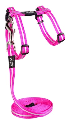 Rogz Alleycat Harness And Lead Set Pink