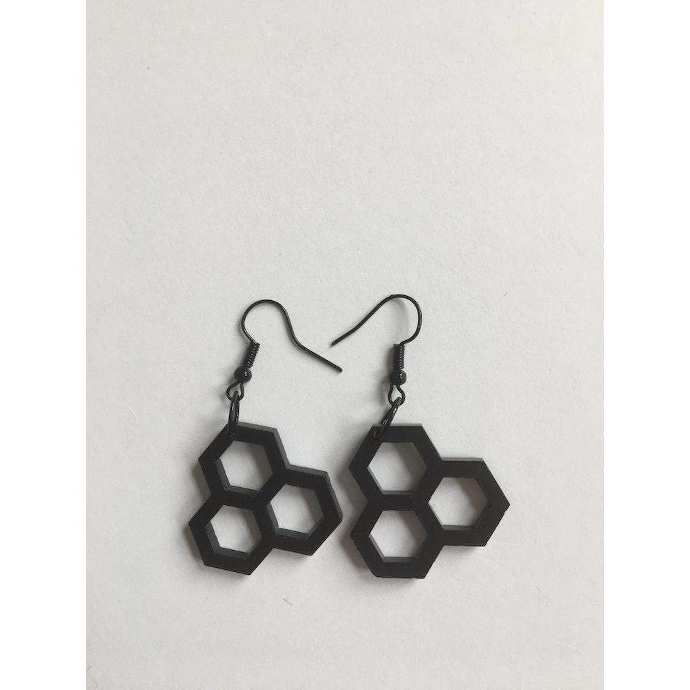 One of a Kind Club Honeycomb Black Acrylic Earrings