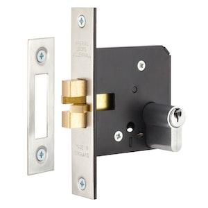 Gainsborough 760 Series Sliding Door Mortice Lock Satin Chrome - Double Cylinder