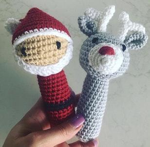Hand Crocheted Santa Rattle