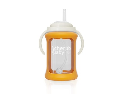 Wide Neck Glass Straw Cup with Colour Change Sleeve 240ml - Orange