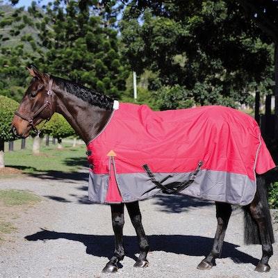 Capriole Equestrian 600D Rust & Grey Waterproof Rug – Rainsheet.