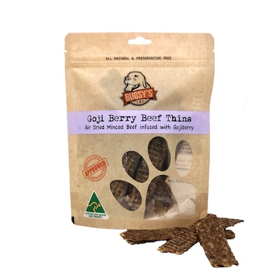 Bugsy's Pet Supplies HEALTHY SNACKS | Australian Beef Thins with Goji Berry