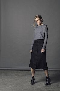 Lavender Linen Skirt - Black