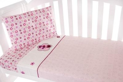 Babyhood Amani Bebe 3pce Cot Sheet Set - Raspberry Garden