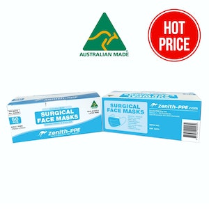 50 pack 3 Ply Face masks - Surgical - Disposable - ARTG approved & Australian Made by Zenith PPE