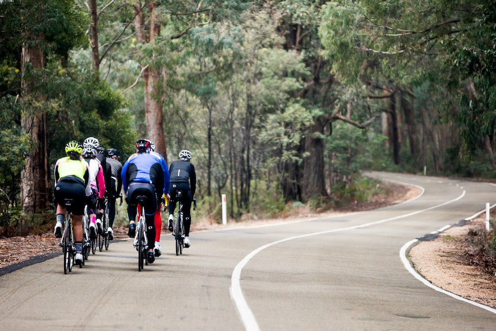bunch riding down the hill king valley