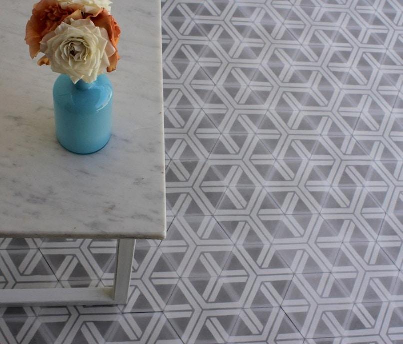 Popham Tiles Handmade Popham Hex Arrow Tile Grey Cement