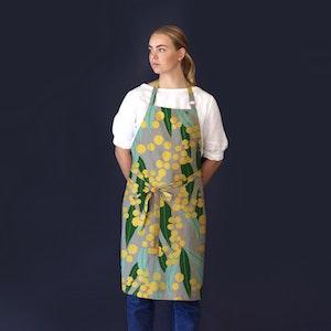 Apron Kitchen Magic Wattle Print, made from 100% Linen.