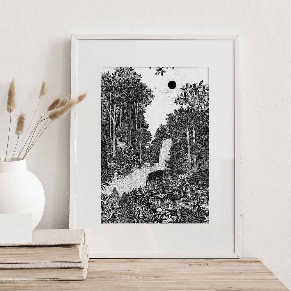 Laura Elizabeth Illustrations Forest Bathe Fine Art Print