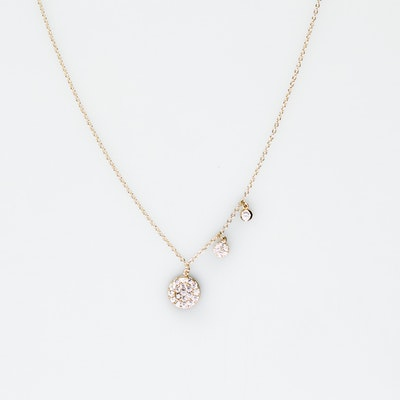I Dream of Silver Gold Plated Necklace with three plates encrusted with cubic zirconia (Thokk)
