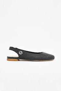 1 People Cannes Sling Back Flat Shoes in Charcoal Black