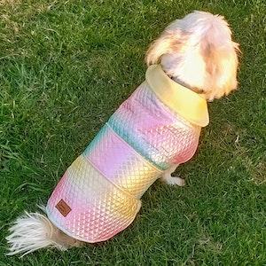Queenie's Pawprints Warm Weatherproof Dog Puffer Coat - Rainbow Mermaid