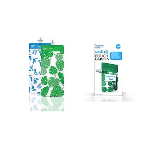 Food Pouch 180mL Maxi's 10pk & Pouch Label Bundle - Toucan Blue & Rainforest Green