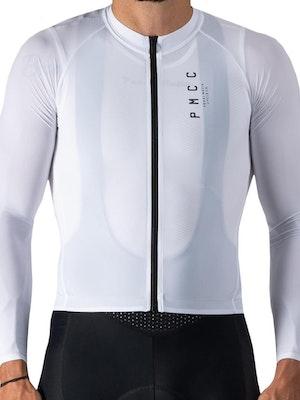 Pedal Mafia Mens Long Sleeve PMCC Jersey - White Black