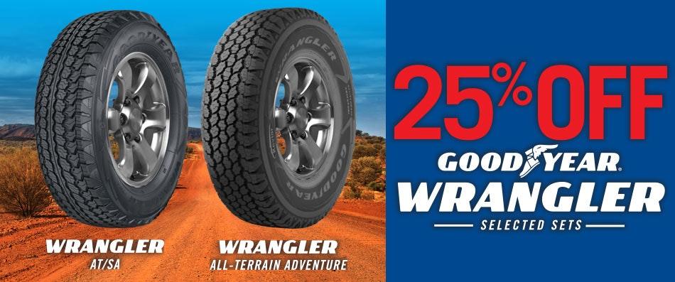 25% Goodyear tyres