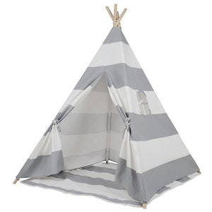 All 4 Kids Large Cotton Canvas Kids Grey Stripe Square Teepee Tent