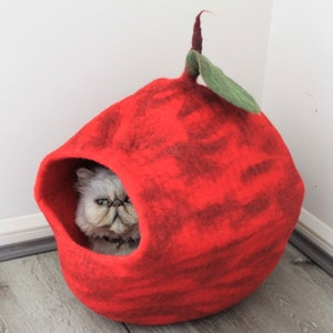 """Queenie's Pawprints Hand-felted Wool Cat Cave """"Magic Apple"""""""