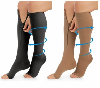 Medical compression socks-knee high open toes with zipper CLASS 1 (15-20)mmhg
