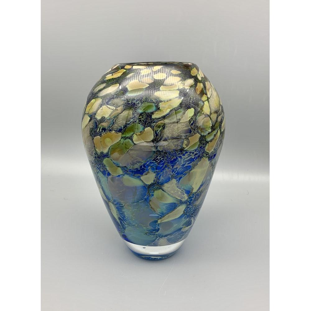 David M Flower Mouth Blown Glass Ovoid Vase In Hydrangea Pattern. Size:large.