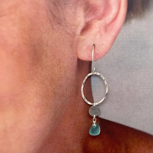 Aqua Seaglass Earrings with Hammered Organic Circle and Disc - Sterling Silver