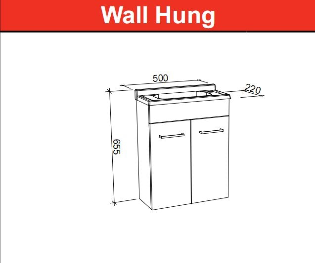 Timberline ensuite 500mm wall hung vanity pre built for Bathroom cabinets 500mm wide