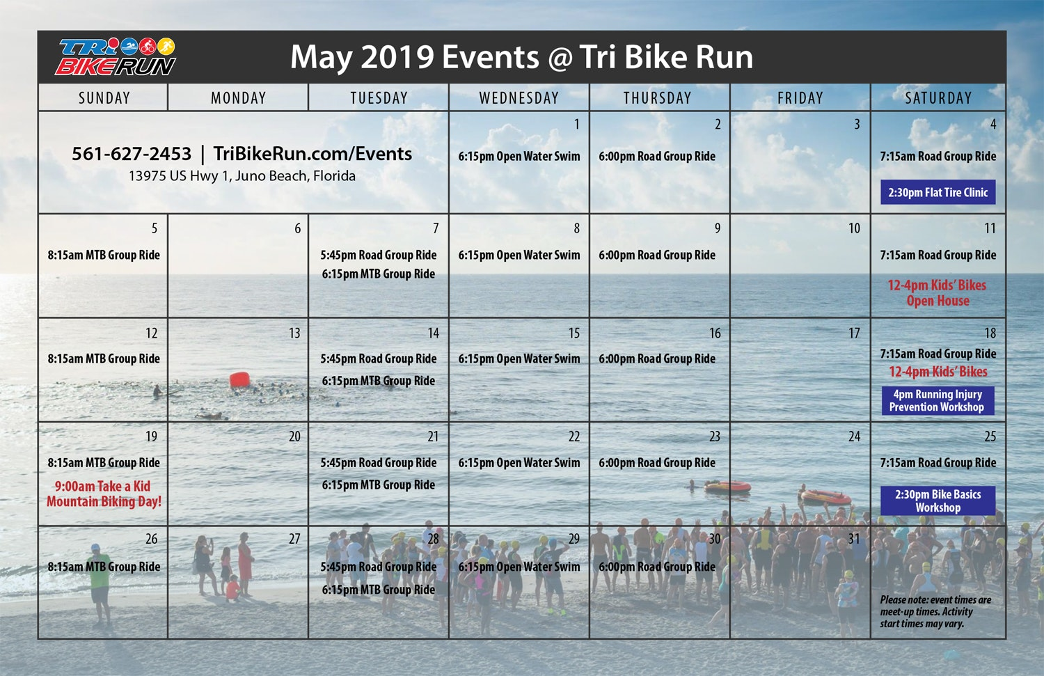 Join Tri Bike Run throughout the month of May for group rides, training opportunities, and info sessions!