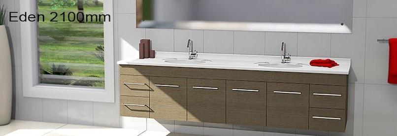 Timberline eden 2100mm wall hung vanity pre built for Premade bathroom vanities
