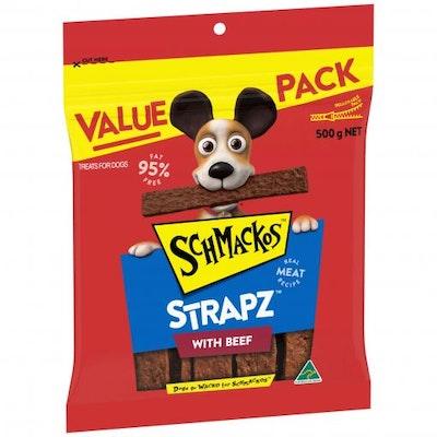 Schmackos Beef Strapz Dog Treats 500G