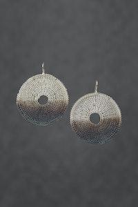 PAMdesigned Half Oxidised Silver Plated Round Large Earrings - Princess Earrings 2020