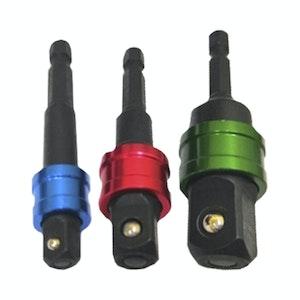 "PK Tools Quick Release Socket Drill Adaptor 70mm 3pc 1/4"", 3/8"", 1/2"""