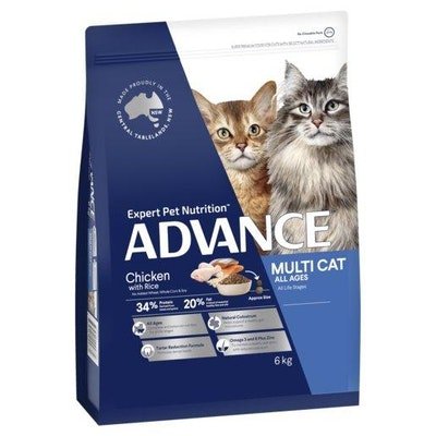 Advance Dry Cat Food Multi Cat Chicken and Salmon 6kg
