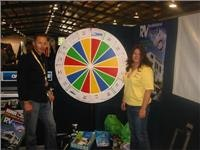 Shelley and Brent spin prizes for expo visitors