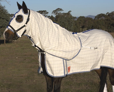 Capriole Equestrian Deluxe Grey & Royal Blue Summer Hood