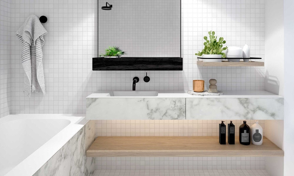 Monochrome Magic Black And Marble In The Bathroom