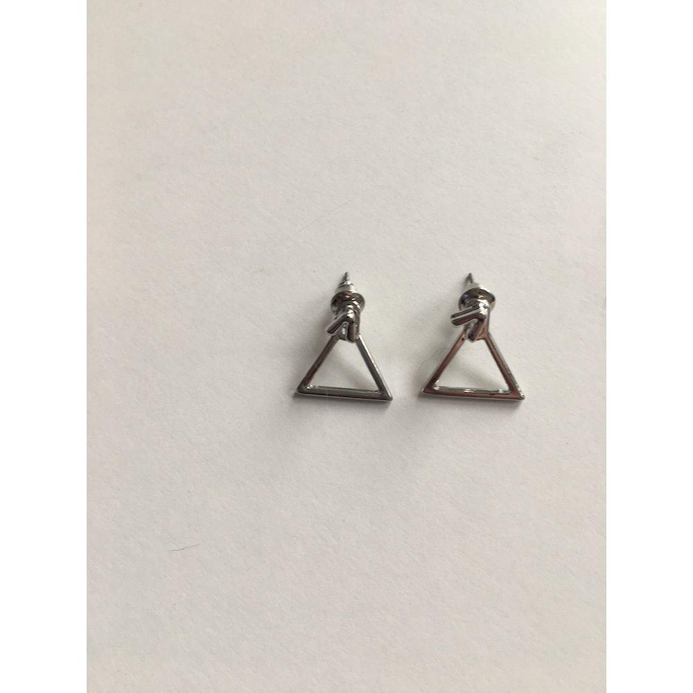 One of a Kind Club Silver Triangle Shaped Earrings