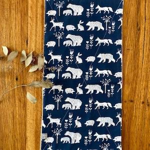 burp cloth - navy woodland animals / organic cotton hemp / eco friendly / baby toddler girl boy unisex / baby shower gift